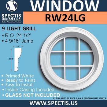 "RW24LG 24"" Decorative Round Window with 9 Lite Grille"