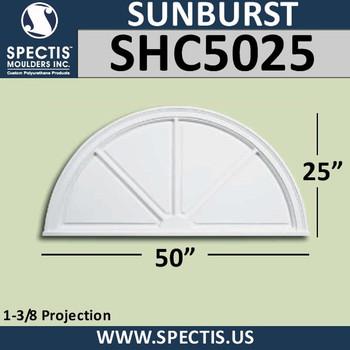 "SHC5025 Sunburst 1 3/8""P X 50""W X 25""H"