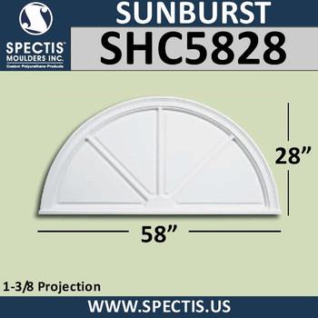 "SHC5828 Sunburst 1 3/8""P X 58""W X 28""H"