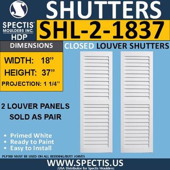 SHL-2 1837 2 Panel Closed Louver Shutters 18 x 37