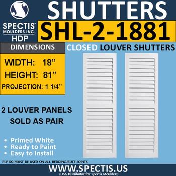 SHL-2 1881 2 Panel Closed Louver Shutters 18 x 81