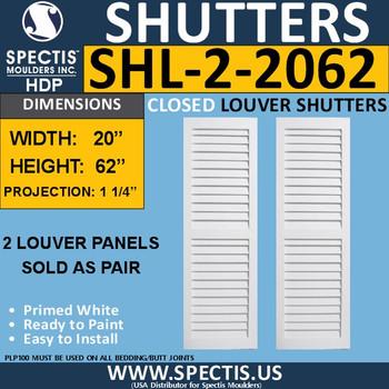 SHL-2 2062 2 Panel Closed Louver Shutters 20 x 62