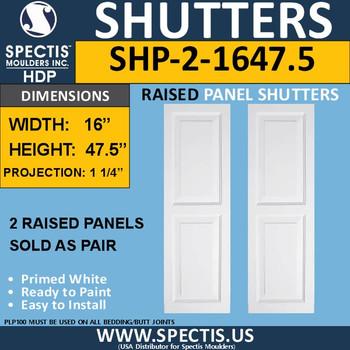 SHP-2 1647.5 Polyurethane Shutters - 2 Raised Panels 16 x 47.5