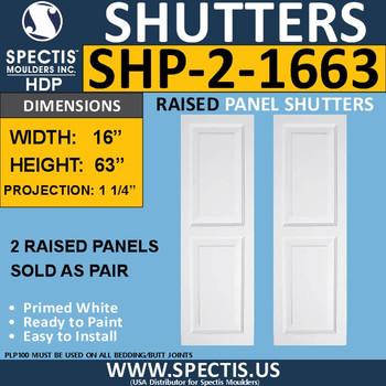 SHP-2 1663 Polyurethane Shutters - 2 Raised Panels 16 x 63