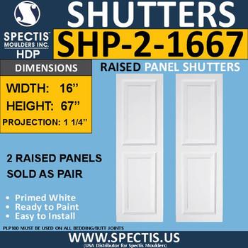 SHP-2 1667 Polyurethane Shutters - 2 Raised Panels 16 x 67