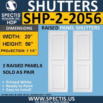 SHP-2 2056 Polyurethane Shutters - 2 Raised Panels 20 x 56