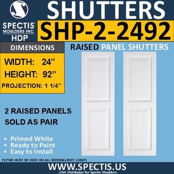 SHP-2 2492 Polyurethane Shutters - 2 Raised Panels 24 x 92