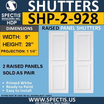 SHP-2 928 Polyurethane Shutters - 2 Raised Panels 9 x 28