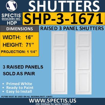 SHP-3 1671 Polyurethane Exterior Shutters - 3 Raised Panels 16 x 71