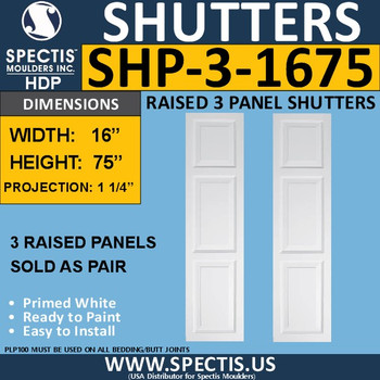 SHP-3 1675 Polyurethane Exterior Shutters - 3 Raised Panels 16 x 75