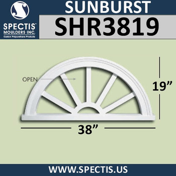 "SHR3819 Sunburst 1 3/8""P X 38""W X 19""H"