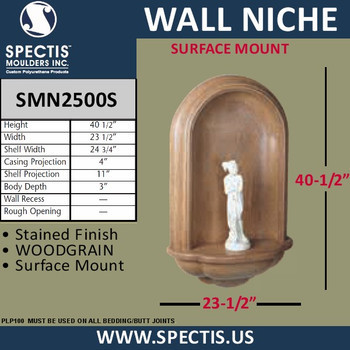 "SMN2500S Surface Mount Stained Woodgrain Wall Niche 23 1/2"" x 40 1/2"""