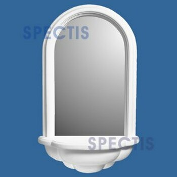 SMN2501FW Spectis Surface Mount Flat White Woodgrain  Wall Niche with Mirror