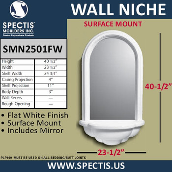 """SMN2501FW Surface Mount Woodgrain Wall Niche with Mirror 23 1/2"""" x 40 1/2"""""""
