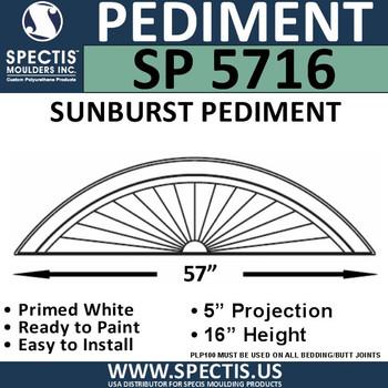 "SP5716 Sunburst Pediment 58 3/16"" x 16"""