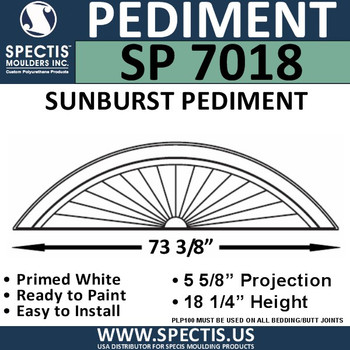 "SP7018 Sunburst Pediment 74 5/8"" x 18 1/4"""