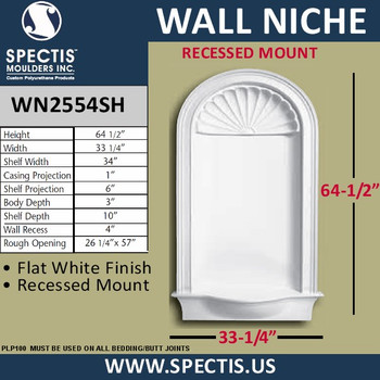 """WN2554SH In-Wall Flat White Finish with Shell Top 33 1/4"""" x 64 1/2"""""""