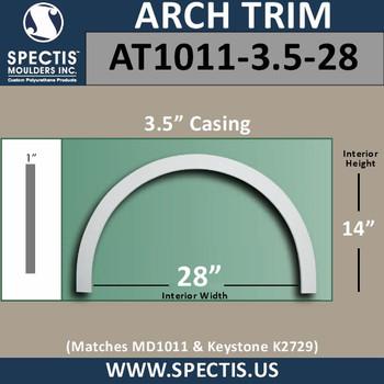 "AT1011-3.5-28 Flat Trim Urethane Door or Window Arch 28"" ID"