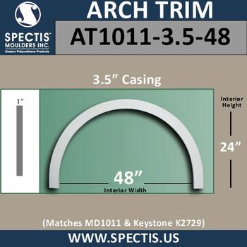 "AT1011-3.5-48 Flat Trim Urethane Door or Window Arch 48"" ID"