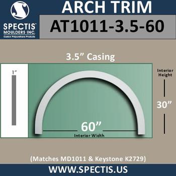 "AT1011-3.5-60 Flat Trim Urethane Door or Window Arch 60"" ID"