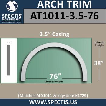 "AT1011-3.5-76 Flat Trim Urethane Door or Window Arch 76"" ID"