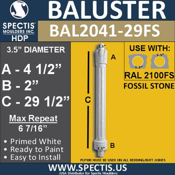 """BAL2041-29FS Fossil Stone Crown Top Baluster 3 1/2"""" x 29 1/2"""""""