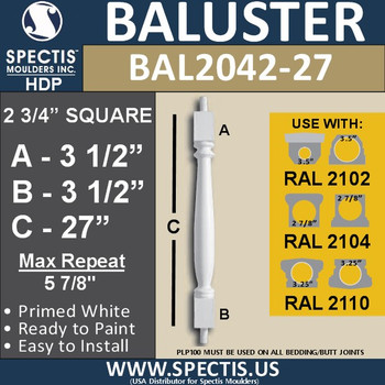 """BAL2042-27 Spectis Baluster or Spindle 2 3/4"""" x 27"""""""