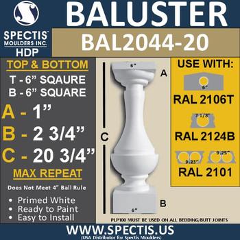 "BAL2044-20 Large Urethane Baluster or Spindle 6"" x 20 3/4"""