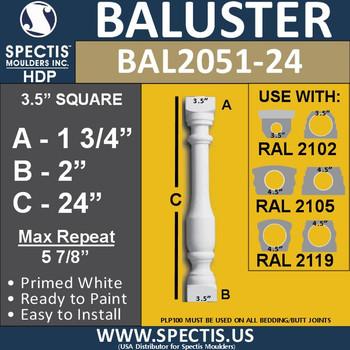 "BAL2051-24 Spectis Urethane Railing Baluster 3 1/2"" x 24"""
