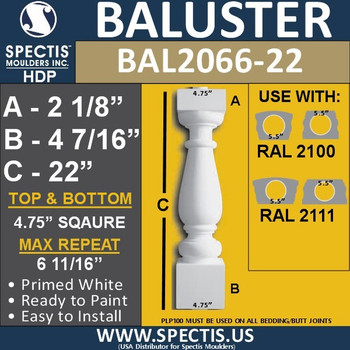 "BAL2066-22 Spectis Urethane Railing Baluster 4 3/4"" x 22"""