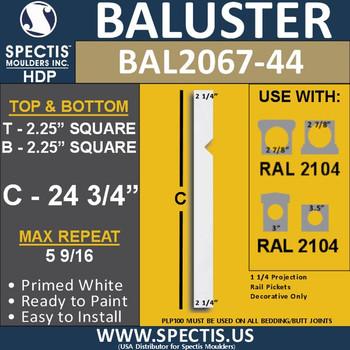 "BAL2067-24 Rail Picket Urethane Baluster 2 1/4"" x 24 3/4"""