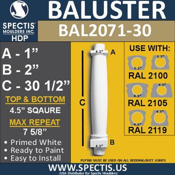 "BAL2071-30 Spectis Urethane Railing Baluster 4 1/2"" x 30 1/2"""