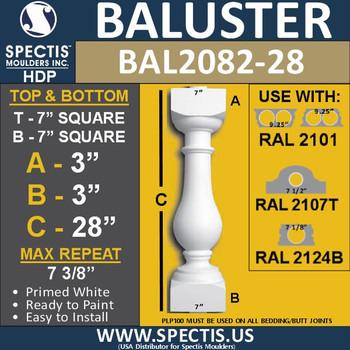 """BAL2082-28 Large Urethane Railing Baluster 7"""" x 28"""""""