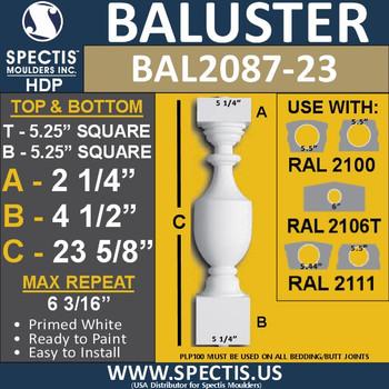 "BAL2087-23 Spectis Urethane Railing Baluster 5 1/4"" x 23 5/8"""
