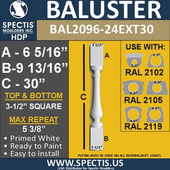 "BAL2096-24EXT30 Spectis Urethane Railing Baluster 3 1/2"" x 30"""