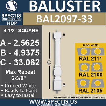 "BAL2097-33 Spectis Urethane Railing Baluster 4 1/2"" x 33 1/16"""