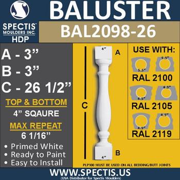 "BAL2098-26 Spectis Urethane Railing Baluster 4"" x 26 1/2"""