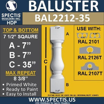 "BAL2212-35 Spectis Urethane Railing Baluster 7 1/2"" x 35"""
