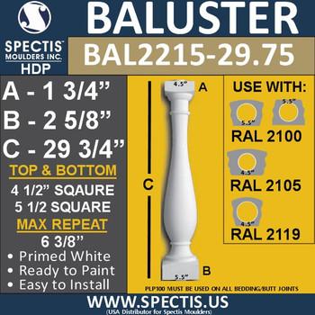 "BAL2215-29.75 Spectis Urethane Railing Baluster 4 1/4"" x 29 3/4"""