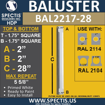 "BAL2217-28 Spectis Urethane Railing Baluster 1 3/4"" x 28"""