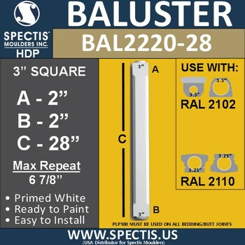 "BAL2220-28 Spectis Urethane Railing Baluster 3"" x 28"""