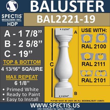 "BAL2221-19 Spectis Urethane Railing Baluster 4 13/16"" x 19"""