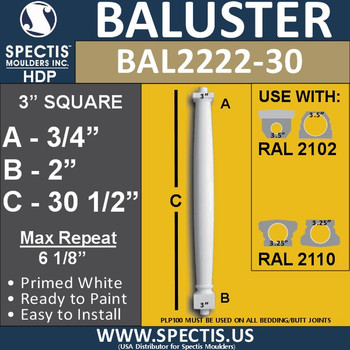"BAL2222-30 Spectis Urethane Railing Baluster 3"" x 30 1/2"""