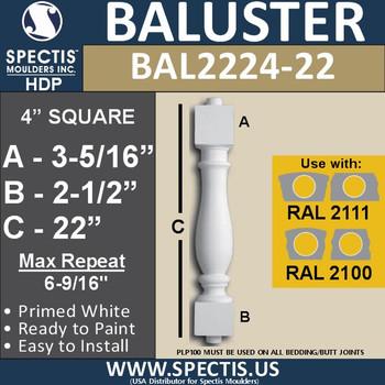 "BAL2224-22 Spectis Urethane Railing Baluster 4"" x 22"""