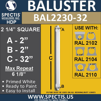 "BAL2230-32 Traditional Square Railing Baluster 2 1/4"" x 32"""