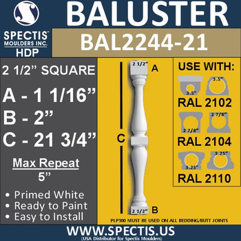 "BAL2244-21 Spectis Urethane Railing Baluster 2 1/2"" x 21 3/4"""