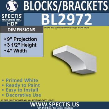 "BL2972 Eave Block or Bracket 4""W x 3.5""H x 9"" P"