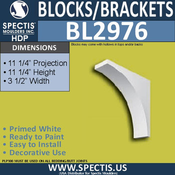 "BL2976 Eave Block or Bracket 3.5""W x 11.25""H x 11.25""P"