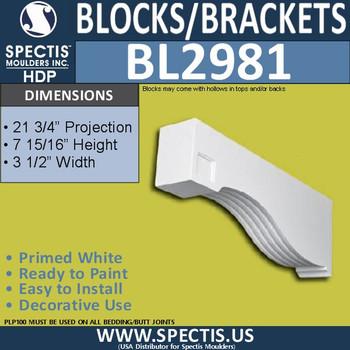 "BL2981 Eave Block or Bracket 3.5""W x 8""H x 21.75"" P"
