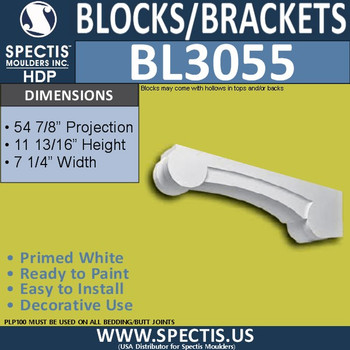 "BL3055 Eave Block or Bracket 6.75""W x 12""H x 55"" P"